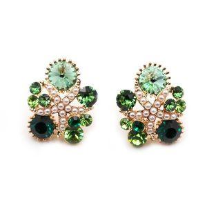 Fashion green starfish crystal earrings